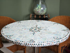 mosaic table made by Paula Boss